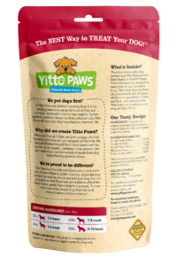Yitto Paws organic dog Peach Granola Bites back of pouch
