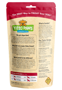 Yitto Paws organic dog Strawberry Granola Bites back of pouch