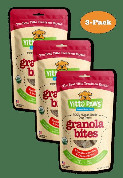 Yitto Paws organic dog treats Strawberry 3-Pack of Granola Bites