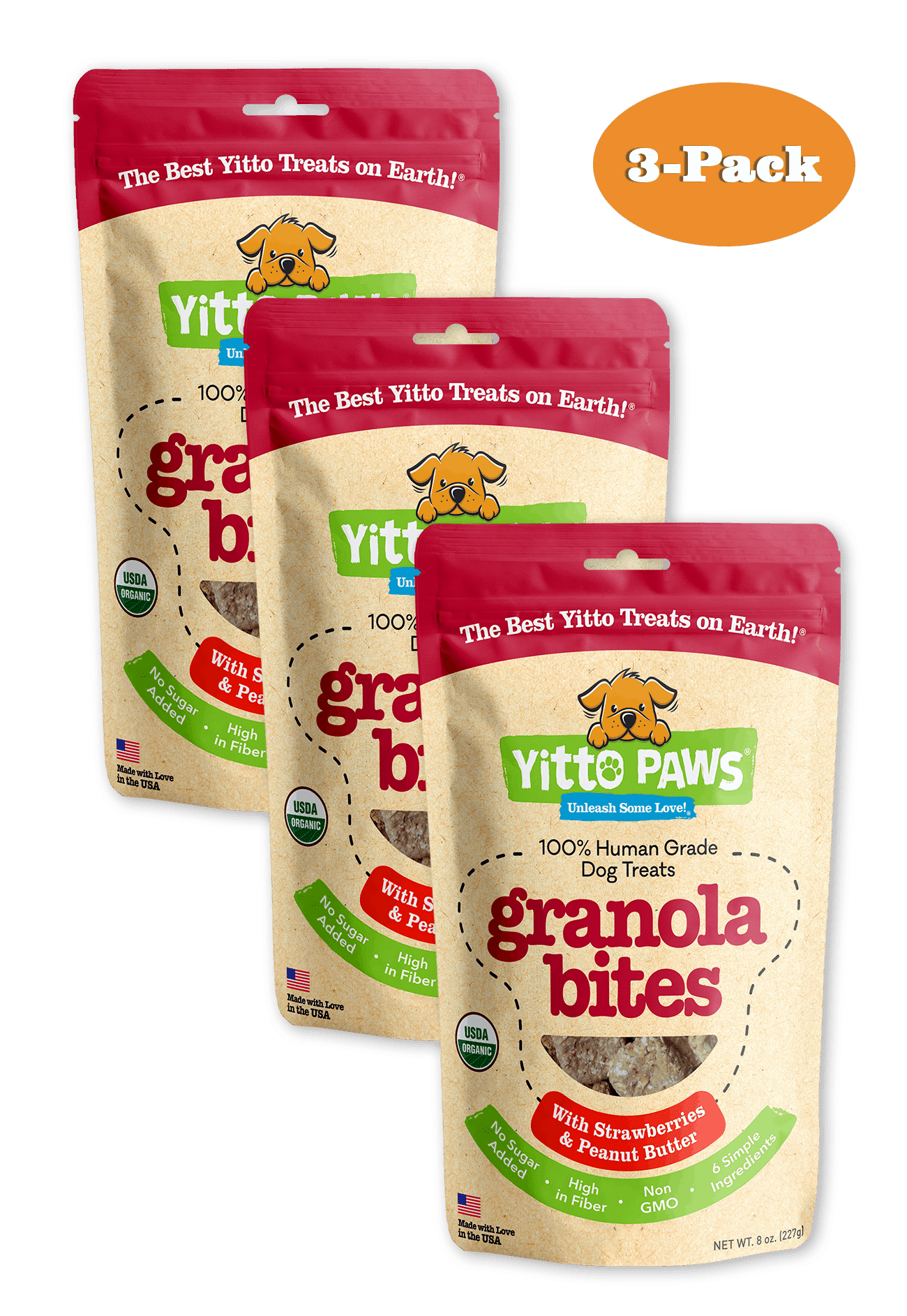 Yitto Paws organic dog treats Strawberry 3-Pack of Granola Bites