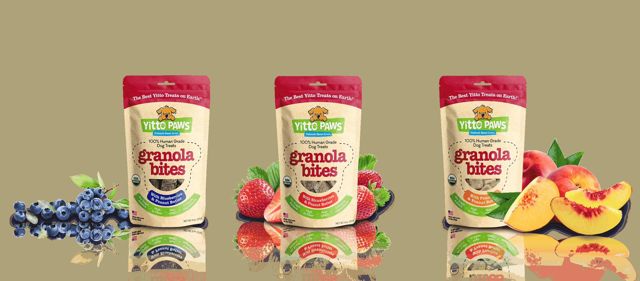 Yitto Paws Granola Bites come in three delicious 100% Organic flavors: Blueberry, Strawberry, and Peach