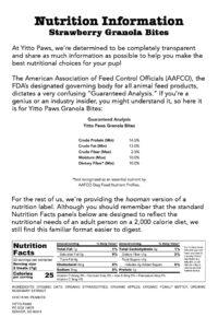Yitto Paws Strawberry Granola Bites Organic Dog Treats Nutrition Information