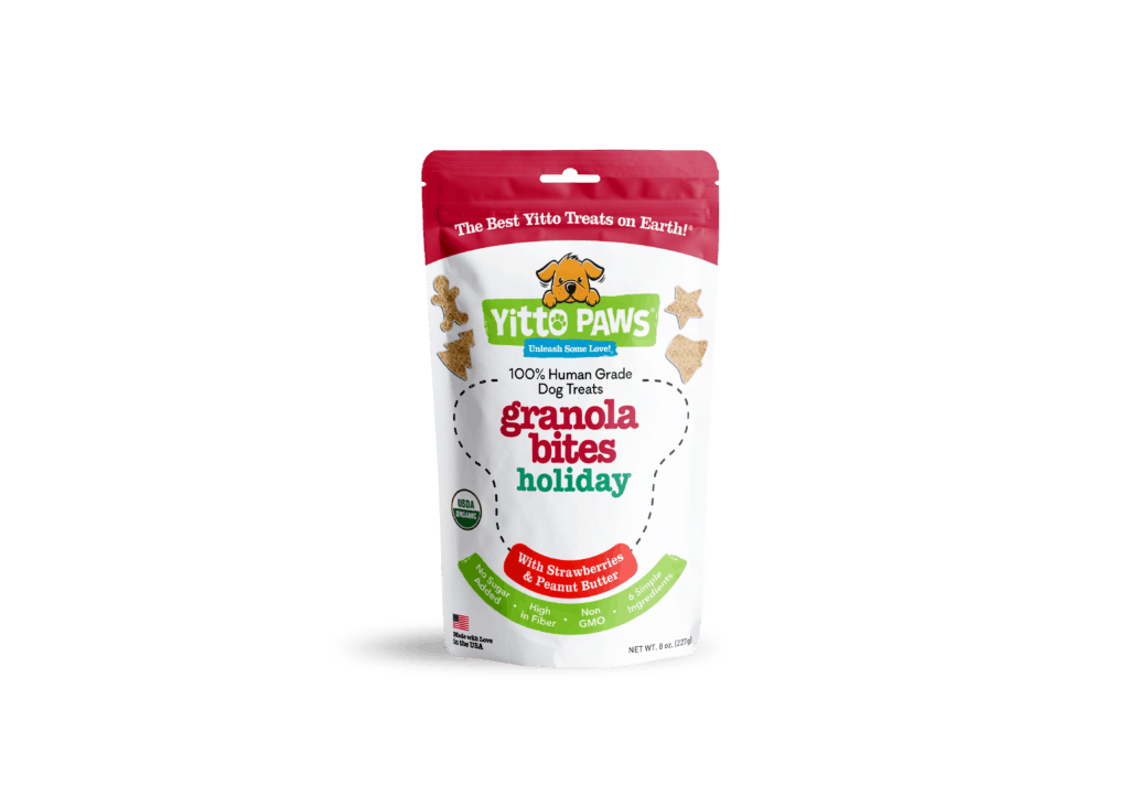 Yitto Paws plans to launch their Holiday Strawberry Granola Bites Human Grade Dog Treats soon!